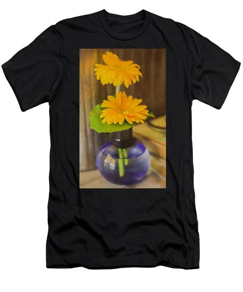 Orange Flowers Blue Vase Men's T-Shirt (Athletic Fit)