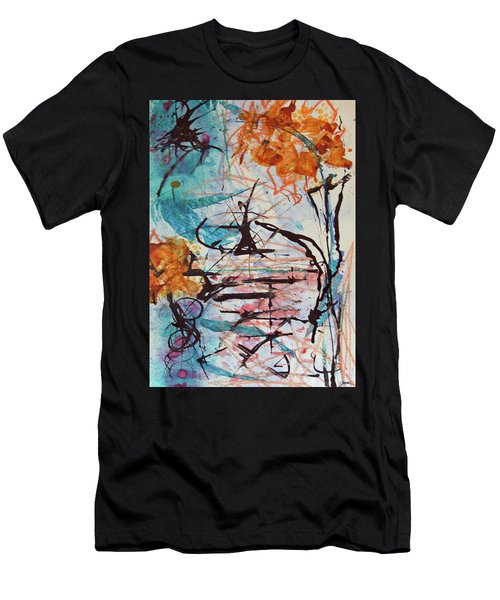 Orange Flowers In Vase Men's T-Shirt (Athletic Fit)
