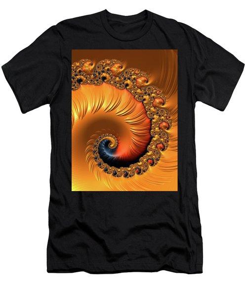 Men's T-Shirt (Athletic Fit) featuring the digital art Orange Fractal Spiral Warm Tones by Matthias Hauser