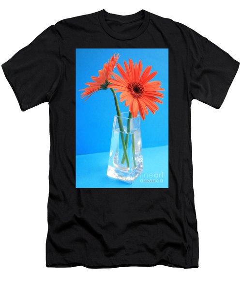 Orange Gerberas In A Vase - Aqua Background Men's T-Shirt (Athletic Fit)