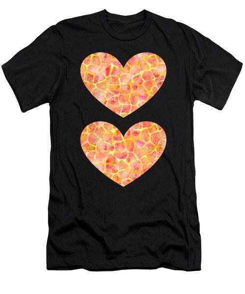 Orange Giraffe Print Men's T-Shirt (Athletic Fit)