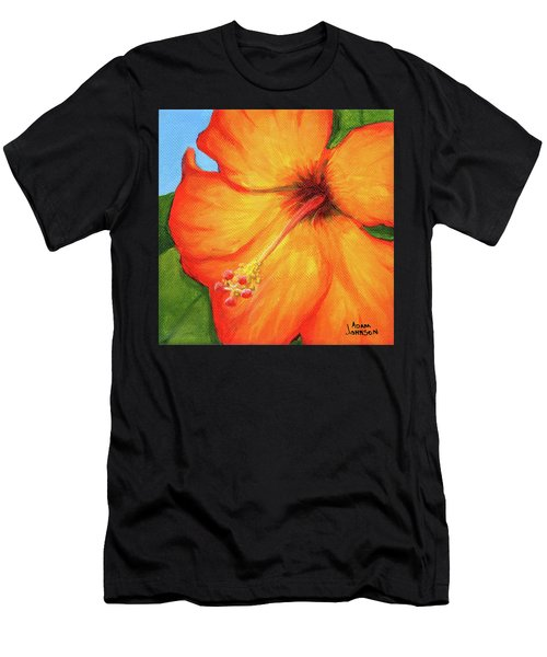 Orange Hibiscus Flower Men's T-Shirt (Athletic Fit)