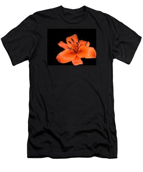 Men's T-Shirt (Slim Fit) featuring the photograph Orange Orchid On Black by Karen Nicholson
