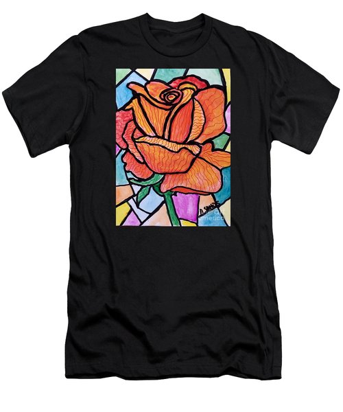 Orange Stained Glass Rose Men's T-Shirt (Athletic Fit)