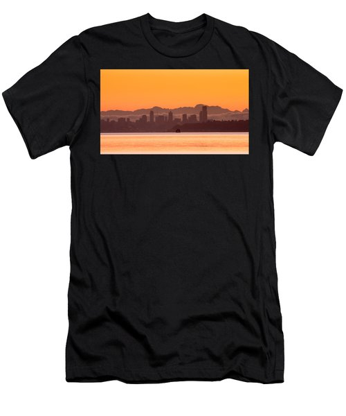 Seattle Skyline In Orange Men's T-Shirt (Athletic Fit)