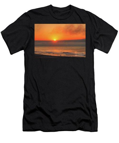 Orange Sunrise On Long Beach Island Men's T-Shirt (Athletic Fit)