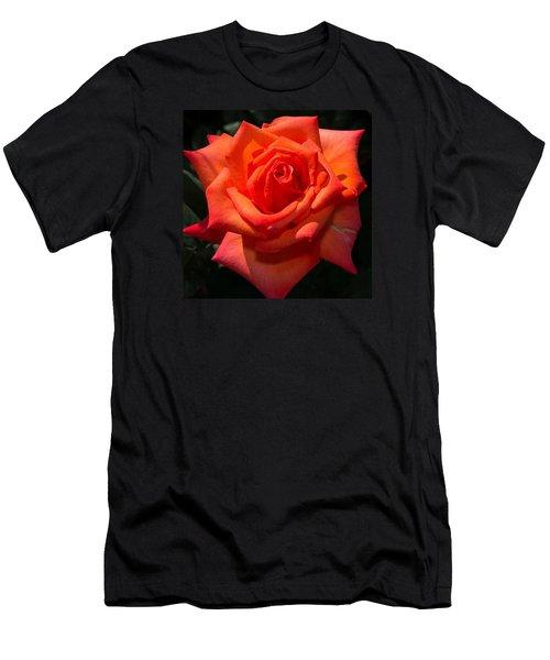 Orange Tropicana Rose  Men's T-Shirt (Slim Fit) by Michael Moriarty