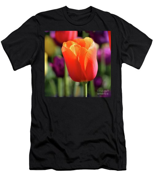 Orange Tulip Square Men's T-Shirt (Athletic Fit)