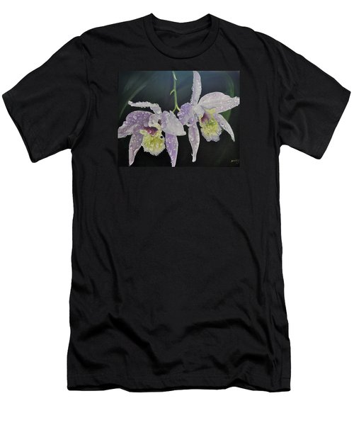 Men's T-Shirt (Slim Fit) featuring the painting Orchid Jewels by AnnaJo Vahle