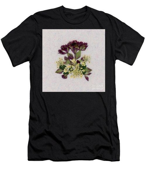 Oregano Florets And Leaves Pressed Flower Design Men's T-Shirt (Athletic Fit)