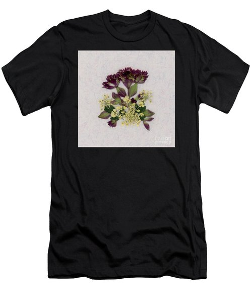 Oregano Florets And Leaves Pressed Flower Design Men's T-Shirt (Athletic Fit)