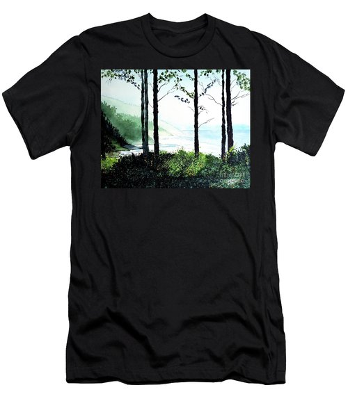 Men's T-Shirt (Slim Fit) featuring the painting Oregon Coast by Tom Riggs
