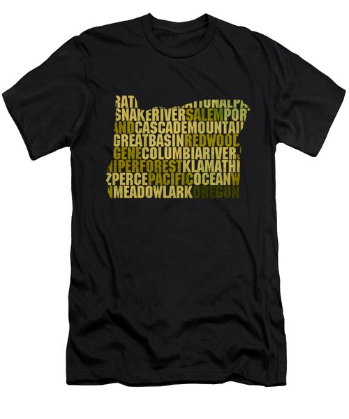 Oregon State Outline Word Map Men's T-Shirt (Athletic Fit)