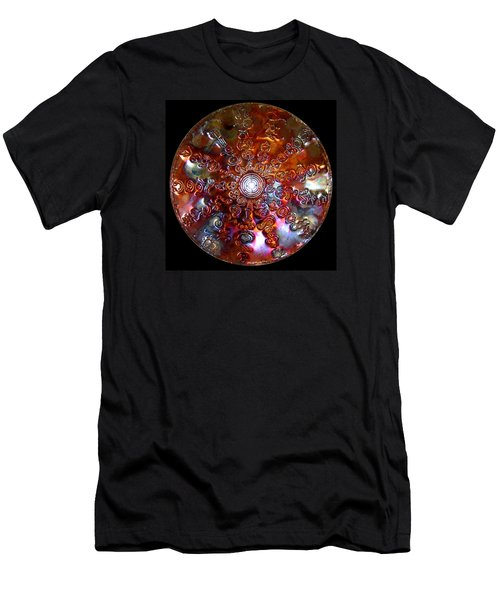 Men's T-Shirt (Athletic Fit) featuring the digital art Original Copper Lightmandala Antares Radial Matrix by Robert Thalmeier