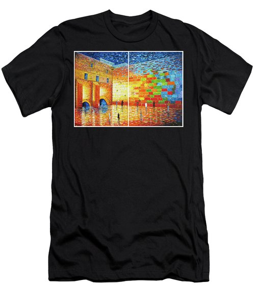 Men's T-Shirt (Athletic Fit) featuring the painting Original Western Wall Jerusalem Wailing Wall Acrylic 2 Panels by Georgeta Blanaru