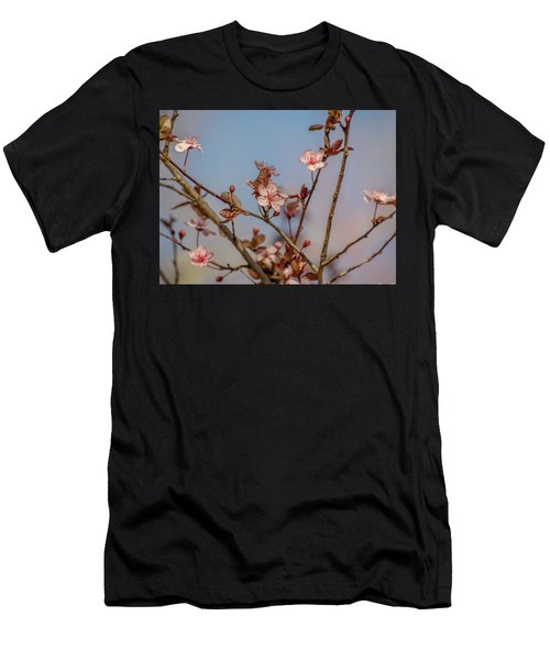 Purple Leaf Sandcherry Blossoms Men's T-Shirt (Athletic Fit)
