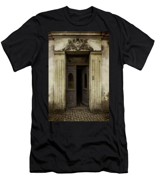 Ornamented Gate In Dark Brown Color Men's T-Shirt (Slim Fit) by Jaroslaw Blaminsky