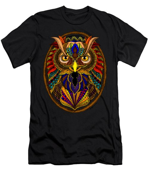Men's T-Shirt (Athletic Fit) featuring the digital art Ornate Owl In Color by Becky Herrera