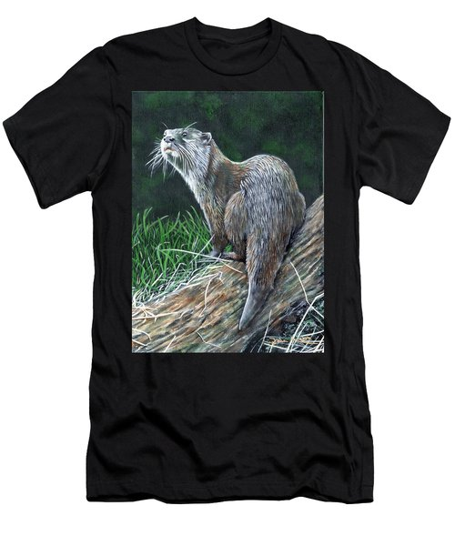 Otter On Branch Men's T-Shirt (Athletic Fit)