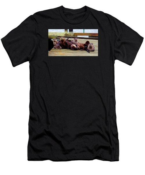 Otter Party Men's T-Shirt (Slim Fit) by Karen Molenaar Terrell
