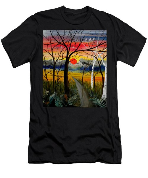 Men's T-Shirt (Slim Fit) featuring the painting Out Of The Woods by Renate Nadi Wesley