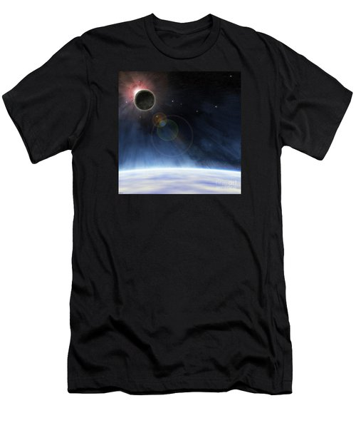 Men's T-Shirt (Slim Fit) featuring the digital art Outer Atmosphere Of Planet Earth by Phil Perkins