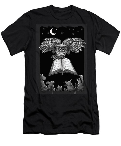 Owl And Friends Blackwhite Men's T-Shirt (Slim Fit) by Retta Stephenson