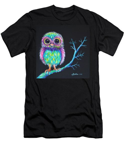 Men's T-Shirt (Slim Fit) featuring the painting Owl Be Your Girlfriend by Agata Lindquist