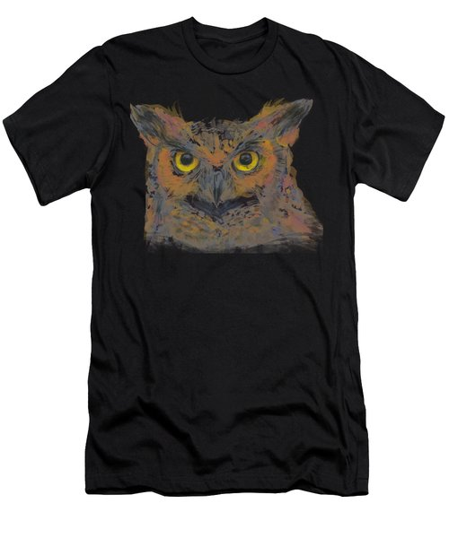Owl Watercolor Portrait Great Horned Men's T-Shirt (Athletic Fit)