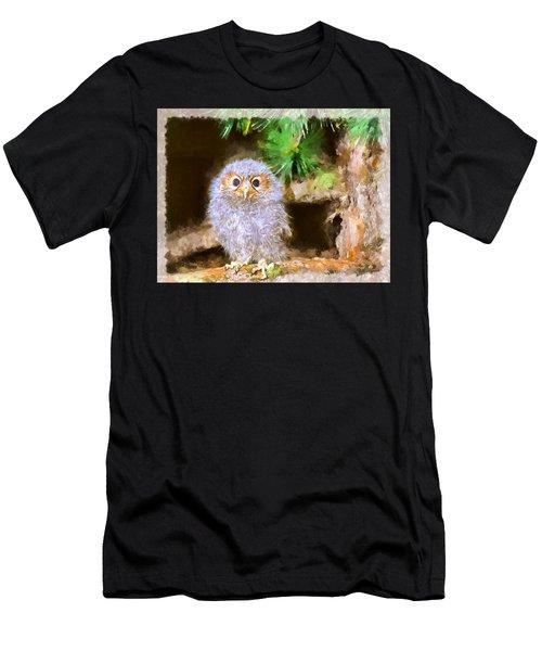 Men's T-Shirt (Slim Fit) featuring the digital art Owlet-baby Owl by Maciek Froncisz