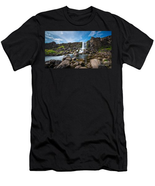 Oxararfoss Waterfall  Men's T-Shirt (Athletic Fit)