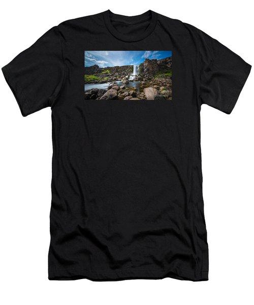 Oxararfoss Waterfall  Men's T-Shirt (Athletic Fit)