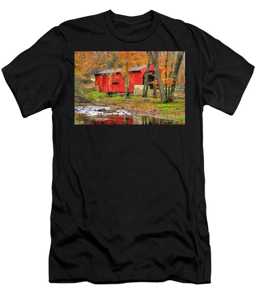 Pa Country Roads- Bartrams / Goshen Covered Bridge Over Crum Creek No.11 Chester / Delaware Counties Men's T-Shirt (Athletic Fit)