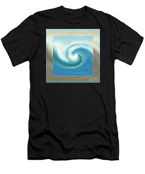 Pacific Swirl With Border Men's T-Shirt (Athletic Fit)