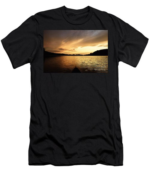 Men's T-Shirt (Slim Fit) featuring the photograph Paddling At Sunset On Kekekabic Lake by Larry Ricker