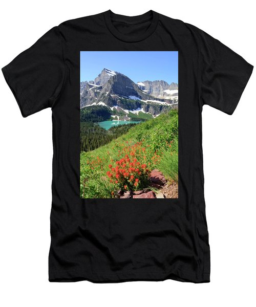 Paintbrush Above Grinnell Lake Men's T-Shirt (Athletic Fit)