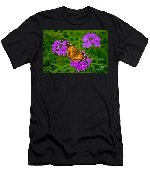 Painted Lady On Purple Verbena Men's T-Shirt (Athletic Fit)