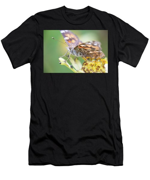 Men's T-Shirt (Athletic Fit) featuring the photograph Painted Lady Proboscis 1 by Brian Hale
