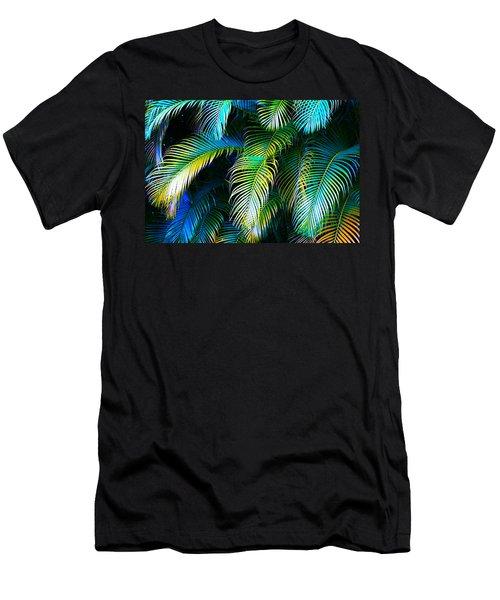 Palm Leaves In Blue Men's T-Shirt (Slim Fit) by Karon Melillo DeVega