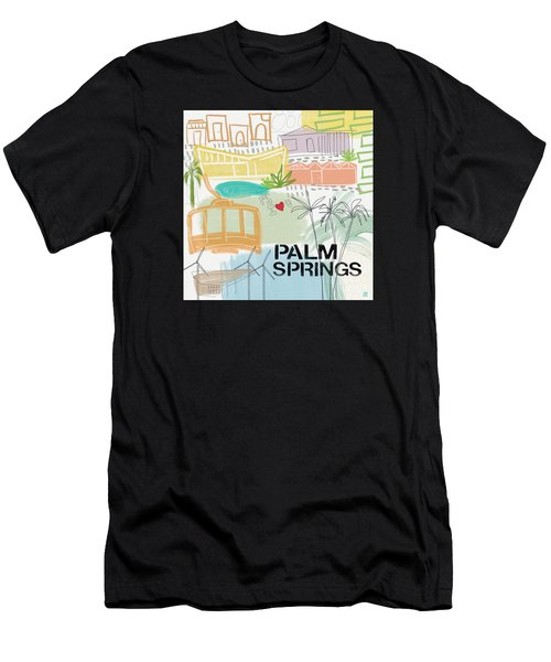 Palm Springs Cityscape- Art By Linda Woods Men's T-Shirt (Athletic Fit)