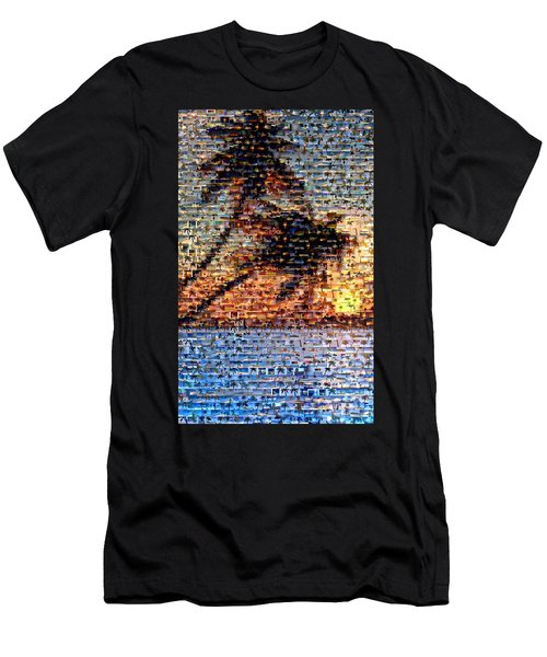 Men's T-Shirt (Slim Fit) featuring the mixed media Palm Tree Mosaic by Paul Van Scott