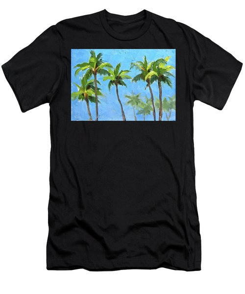 Men's T-Shirt (Slim Fit) featuring the painting Palm Tree Plein Air Painting by Karen Whitworth