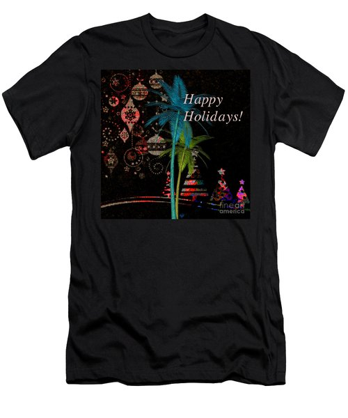 Palm Trees Happy Holidays Men's T-Shirt (Athletic Fit)