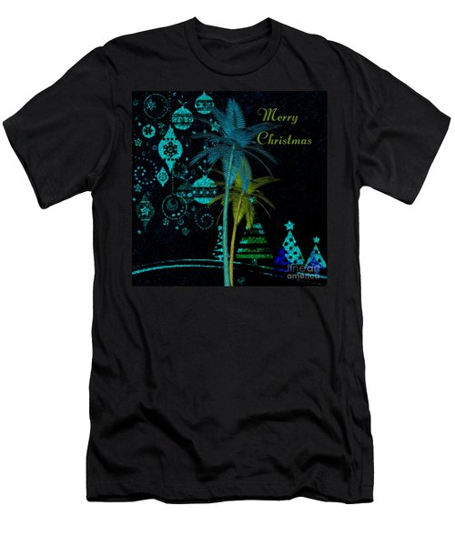 Palm Trees Merry Christmas Men's T-Shirt (Athletic Fit)