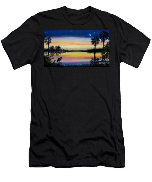 Palmetto Tree And Moon Low Country Sunset Men's T-Shirt (Slim Fit) by Patricia L Davidson