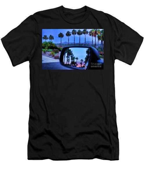 Palms Sunset Reflection Men's T-Shirt (Slim Fit) by Sharon Soberon