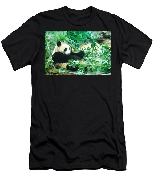 Men's T-Shirt (Slim Fit) featuring the painting Panda 1 by Lanjee Chee