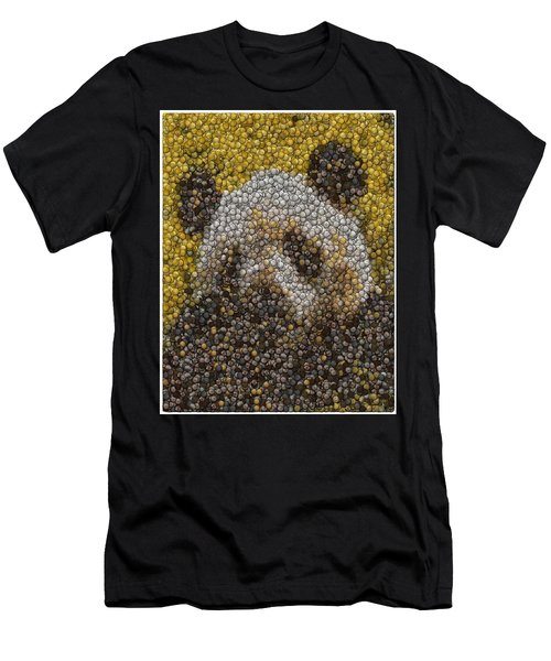 Men's T-Shirt (Slim Fit) featuring the digital art Panda Coin Mosaic by Paul Van Scott