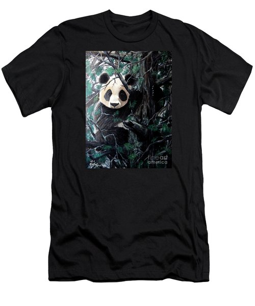 Panda In Tree Men's T-Shirt (Slim Fit) by Nick Gustafson
