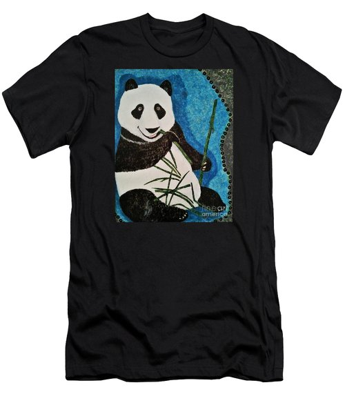 Men's T-Shirt (Slim Fit) featuring the painting Panda by Jasna Gopic